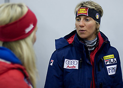 Therese Johaug of Norway and Marianna Longa of Italy at presentation of Fisher skiis at  FIS Nordic World Ski Championships Liberec 2008, on February 23, 2009, Arena Tipsport, Liberec, Czech Republic. (Photo by Vid Ponikvar / Sportida)