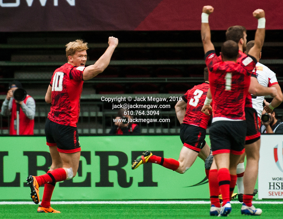 Sam Cross of Wales celebrates after beating Canada in after the horn during the pool stages of the 2016 Canada Sevens leg of the HSBC Sevens World Series Series at BC Place in  Vancouver, British Columbia. Saturday March 12, 2016.<br /> <br /> Jack Megaw<br /> <br /> www.jackmegaw.com<br /> <br /> 610.764.3094<br /> jack@jackmegaw.com