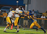 Vinton-Shellsburg's Max Griffith (24) intercepts a pass intended for Benton Community's Noah Fisher (32) in the end zone during the first half of their game between Vinton-Shellsburg and Benton Community at Benton Community High School in Van Horne on Friday evening, August 24, 2012.