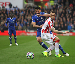 Diego Costa of Chelsea and Marko Arnautovic of Stoke City (R) in action - Mandatory by-line: Jack Phillips/JMP - 18/03/2017 - FOOTBALL - Bet365 Stadium - Stoke-on-Trent, England - Stoke City v Chelsea - Premier League