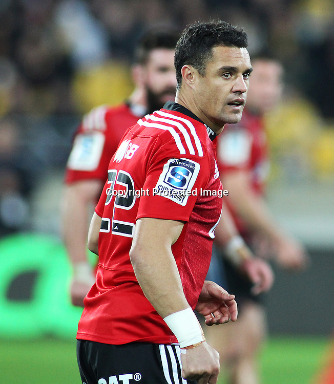 Crusaders' Dan Carter waits in the backline during the Round 17 Super Rugby match, between the Hurricanes & Crusaders. Westpac Stadium, Wellington. 28 June 2014. Photo.: Grant Down / www.photosport.co.nz