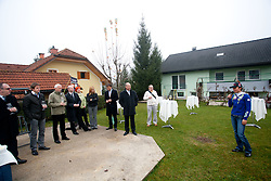 Teja Gregorin, sponsors and visitors at opening ceremony of rebuilded T. Gregorin's house after she moved from Ihan, on November 10, 2011, in Hotemaze at Kranj, Slovenia. (Photo by Vid Ponikvar / Sportida)