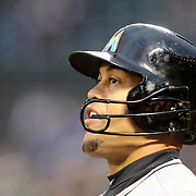 NEW YORK, NEW YORK - APRIL 11: Giancarlo Stanton, Miami Marlins, preparing to bat during the Miami Marlins Vs New York Mets MLB regular season ball game at Citi Field on April 11, 2016 in New York City. (Photo by Tim Clayton/Corbis via Getty Images)