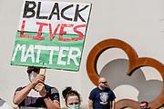 Large black lives matter protest sign shown in Penndarryn Square during the Black Lives Matter Protest in Merthyr Tydfil, Wales on 7 June 2020.