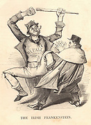 Daniel O'Connell (1755-1847) 'The Liberator', Irish politician and patriot, shown with the Irish Frankenstein, the monster of his creation (as England saw it). O'Connell led the Repeal (of Union with Britain) movement. Cartoon by Charles Keene from 'Punch', London, 1843.
