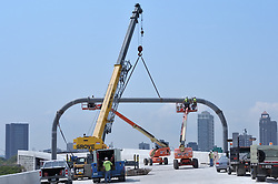 Lifting and Aligning Crossmember. Installing Monotube Highway Sign Support. Pearl Harbor Memorial Bridge, New Haven Harbor Crossing Corridor. CT DOT Contract B1 Project No. 92-618 Progress Photography. Northbound West Approaches. Ninth and Final on site photo capture of once every four month chronological documentation.