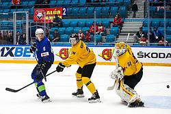 Tadej Cimzar of Slovenia, Tomas Krukovski of Lithuania and Mantas Armalis of Lithuania during ice hockey match between Slovenia and Lithuania at IIHF World Championship DIV. I Group A Kazakhstan 2019, on May 5, 2019 in Barys Arena, Nur-Sultan, Kazakhstan. Photo by Matic Klansek Velej / Sportida