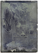 eroding glass plate of adult woman talking to her pet dog whom is sitting on a chair