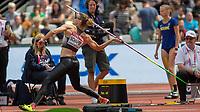 Athletics - 2017 IAAF London World Athletics Championships - Day Three, Morning Session<br /> <br /> Heptathlon Women - Javelin Throw<br /> <br /> Carolin Schafer (Germany) launches her Javelin throw at the London Stadium<br /> <br /> <br /> COLORSPORT/DANIEL BEARHAM