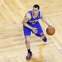 26 April 2013: New York Knicks point guard Pablo Prigioni (9) dribbles during Game Three of the Eastern Conference Quarterfinals of the 2013 NBA Playoffs at the TD Garden, Boston, Massachusetts, USA.