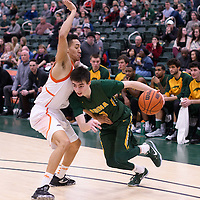 1st year guard Benjamin Hillis (8) of the Regina Cougars during the 5th year night on February  11 at Centre for Kinesiology, Health and Sport. Credit: Arthur Ward/Arthur Images