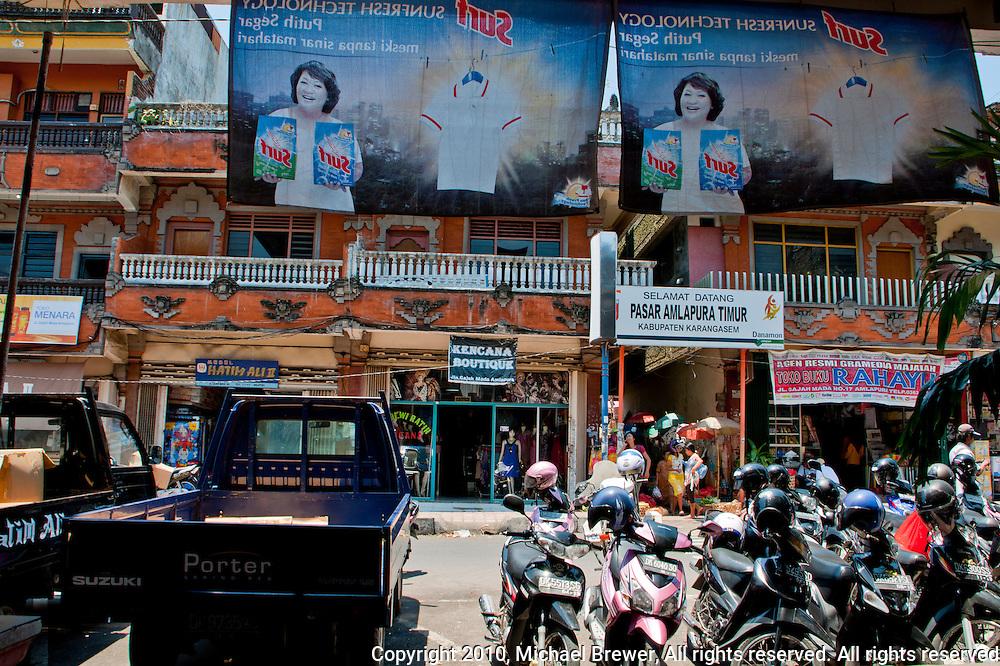 Street scene in downtown Amlapura in Bali, Indonesia