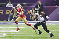 3 February 2013: Quarterback (7) Colin Kaepernick of the San Francisco 49ers runs the ball against the Baltimore Ravens during the second half of the Ravens 34-31 victory over the 49ers in Superbowl XLVII at the Mercedes-Benz Superdome in New Orleans, LA.