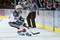 KELOWNA, CANADA - JANUARY 11:  Colton Sissons #15 of the Kelowna Rockets skates for the puck against the Tri City Americans at the Kelowna Rockets on January 11, 2013 at Prospera Place in Kelowna, British Columbia, Canada (Photo by Marissa Baecker/Shoot the Breeze) *** Local Caption ***