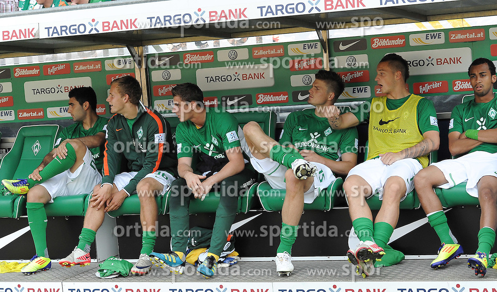 20.08.2011, Weserstadion, Bremen, GER, 1.FBL, Werder Bremen vs SC Freiburg, im Bild Mehmet Ekici (Bremen #20), Lennart Thy (Bremen #36), Sebastian Mielitz (Bremen #21), Sebastian Prödl / Proedl (Bremen #15), Marko Arnautovic (Bremen #7), Wesley (Bremen #5)..// during the match Werder Bremen vs SC Freiburg on 2011/08/20, Weserstadion, Bremen, Germany..EXPA Pictures © 2011, PhotoCredit: EXPA/ nph/  Frisch       ****** out of GER / CRO  / BEL ******