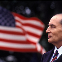 French President François Mitterrand at the White House in Washington, DC during the welcoming ceremony for Mitterrand's state visit with U.S. President Ronald Reagan on June 5, 1982.