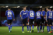 Chesterfield players celebrate during the The FA Cup match between FC United of Manchester and Chesterfield at Broadhurst Park, Manchester, United Kingdom on 9 November 2015. Photo by Pete Burns.