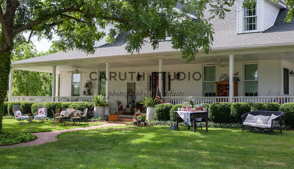 Ice Cream Social: Furnishings on the lawn and porch