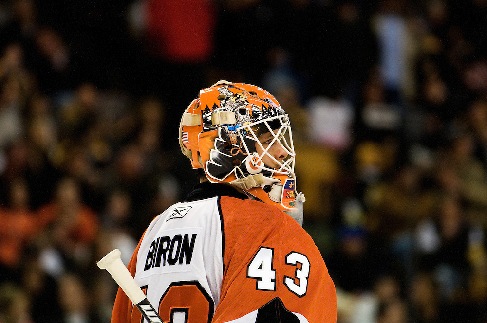 07 February 2009: Flyers goalie Martin Biron #43 during the New Philadelphia Flyers 4-3 win over the Boston Bruins at the TD Banknorth Garden in Boston, MA.*****Editorial Usage Only*****