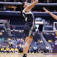 25 May 2014: San Antonio Stars guard Jia Perkins (7) takes a jumpshot during the Los Angeles Sparks 83-62 victory over the San Antonio Stars, at the Staples Center, Los Angeles, California, USA.