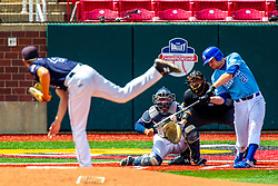 25 May 2019:  Peyton Sherlin pitches, Herbert Iser catches, CJ Huntley bats and Bill McGuire makes the calls. Missouri Valley Conference Baseball Tournament - Dallas Baptist Patriots v Indiana State Sycamores at Duffy Bass Field in Normal IL<br /> <br /> #MVCSPORTS