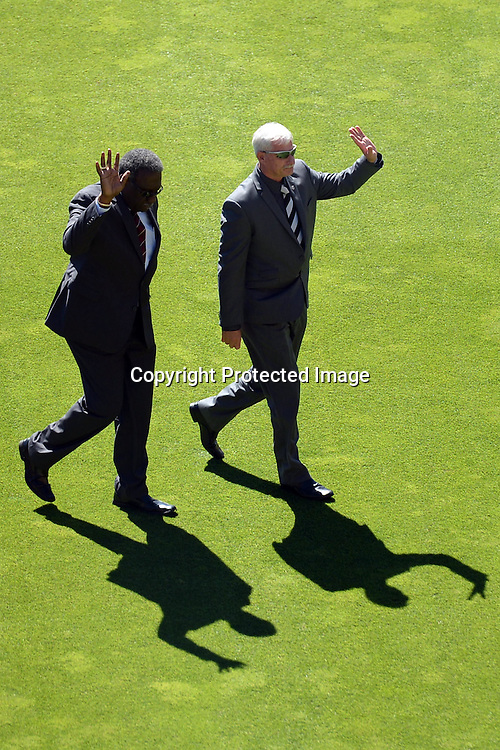 Cricket Legends Clive Llyod and Sir Richard Hadlee acknowledge the crowd cheers before the start of the gameduring the ICC Cricket World Cup Quaterfinal match between New Zealand and West Indies at Westpac Stadium in Wellington, New Zealand. Saturday 21  March 2015. Copyright Photo: Raghavan Venugopal / www.photosport.co.nz
