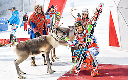 13.11.2016, Black Race Course, Levi, FIN, FIS Weltcup Ski Alpin, Levi, Slalom, Herren, Siegerehrung, im Bild Sieger Marcel Hirscher (AUT) mit Rentier Leo // Winner Marcel Hirscher of Austria With reindeer Leo  during Winner Award Ceremony of mens Slalom of FIS ski alpine world cup at the Black Race Course in Levi, Finland on 2016/11/13. EXPA Pictures © 2016, PhotoCredit: EXPA/ Nisse Schmidt<br /> <br /> *****ATTENTION - OUT of SWE*****