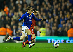 LIVERPOOL, ENGLAND - Tuesday, March 13, 2012: Everton's Nikica Jelavic in action against Liverpool during the Premiership match at Anfield. (Pic by David Rawcliffe/Propaganda)