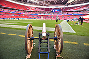 The Chargers Cannon stands ready on the pitch during the International Series match between Tennessee Titans and Los Angeles Chargers at Wembley Stadium, London, England on 21 October 2018.