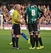 Rochdale Midfielder, Matthew Lund recieves a yellow card for a foul on Bury Midfielder Tom Soares during the Sky Bet League 1 match between Bury and Rochdale at Gigg Lane, Bury, England on 17 October 2015. Photo by Mark Pollitt.