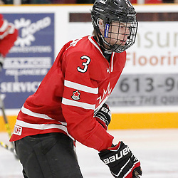 TRENTON, - Dec 10, 2015 -  Exhibition Game 3-  Russia vs Team Canada West at the 2015 World Junior A Challenge at the Duncan Memorial Gardens, ON. Dean Stewart #3 of Team Canada West during the pre-game warmup (Photo: Amy Deroche / OJHL Images)