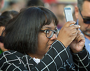 Diane Abbott takes a photo at the Greece Solidarity Campaign Rally in Trafalgar Square London, Great Britain 29th June 2015 <br /> <br /> Greece Solidarity Campaign Rally<br /> <br /> <br /> Photograph by Elliott Franks <br /> Image licensed to Elliott Franks Photography Services