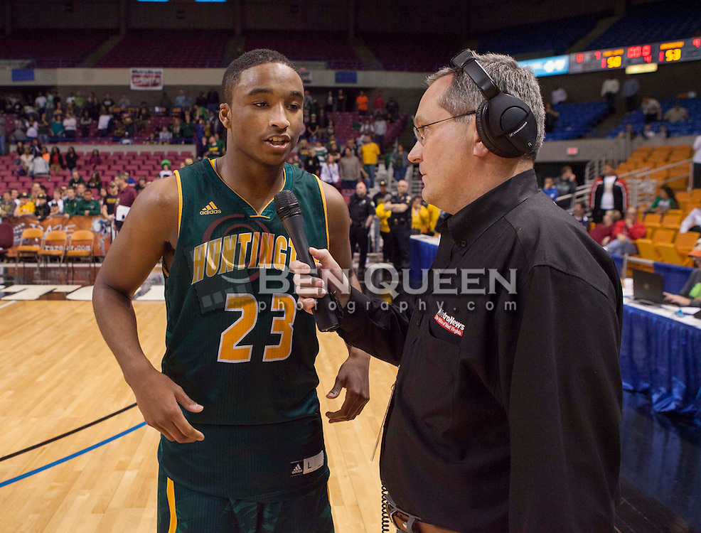 Huntington forward Jeffrey Howard (23) talks with MetroNews's Kyle Wiggs after the conclusion of the AAA title game.
