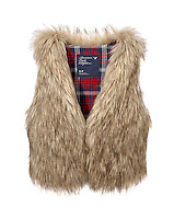 American Eagle Outfitters faux fur vest on white background
