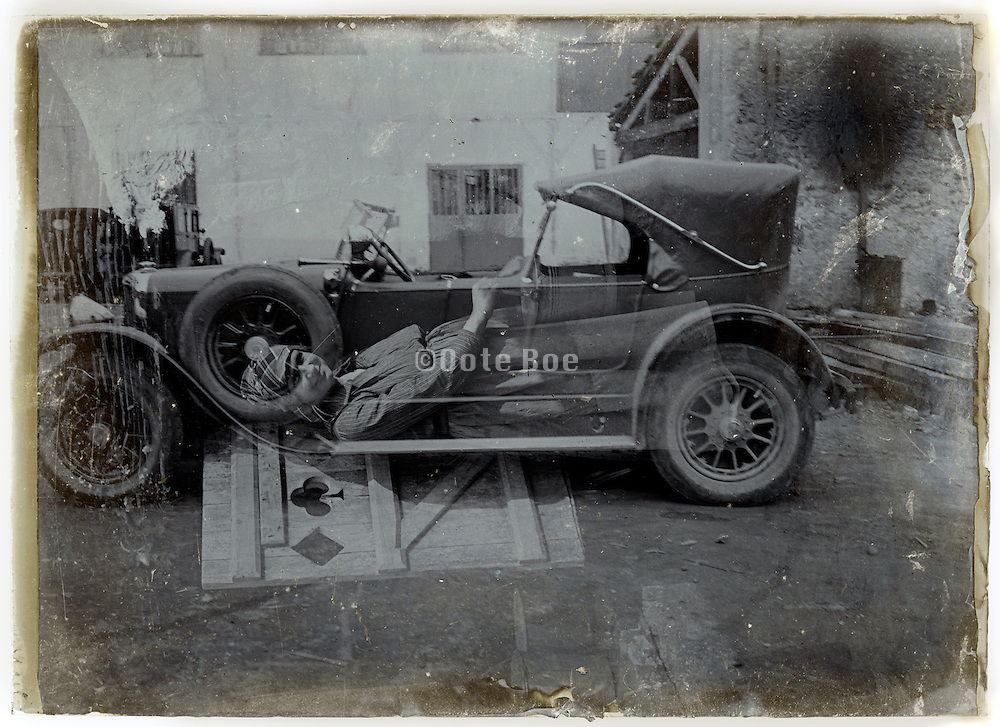 double exposure of car and portrait of female person