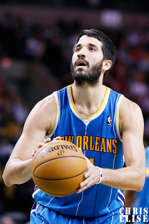 16 January 2013: New Orleans Hornets point guard Greivis Vasquez (21) is seen at the free throw line during the New Orleans Hornets 90-78 victory over the Boston Celtics at the TD Garden, Boston, Massachusetts, USA.