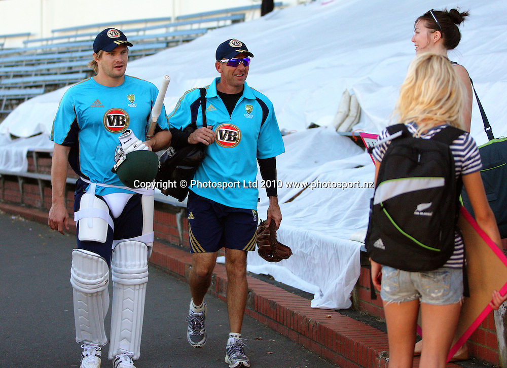 Australian coach Tim Nielsen with Shane Watson (left) after the match.<br /> 1st cricket test match - New Zealand Black Caps v Australia, day five at the Basin Reserve, Wellington. Tuesday, 23 March 2010. Photo: Dave Lintott/PHOTOSPORT