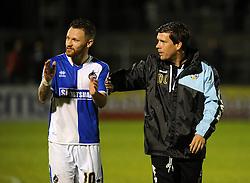 Bristol Rovers Manager Darrell Clarke with goalscorer Matty Taylor - Mandatory byline: Neil Brookman/JMP - 07966 386802 - 06/10/2015 - FOOTBALL - Memorial Stadium - Bristol, England - Bristol Rovers v Wycombe Wanderers - JPT Trophy