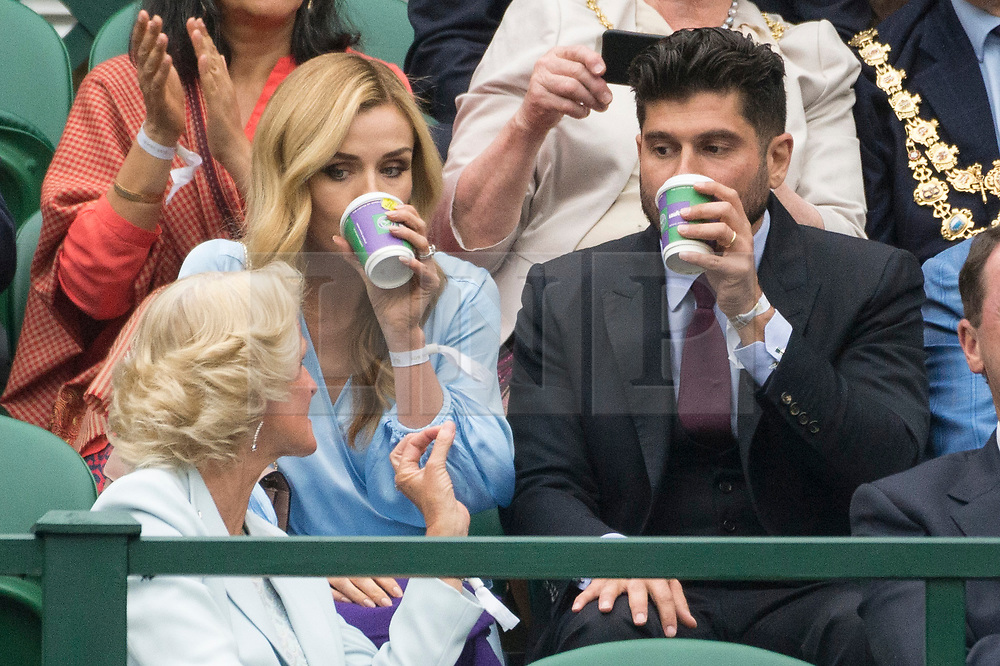 © Licensed to London News Pictures. 19/05/2019. London, UK. Katherine Jenkins and husband Andrew Levitas attend the Wimbledon No.1 Court Celebration event. The event marks the unveiling of a retractable roof and extended seating capacity at a cost of £70 million. Photo credit: Ray Tang/LNP