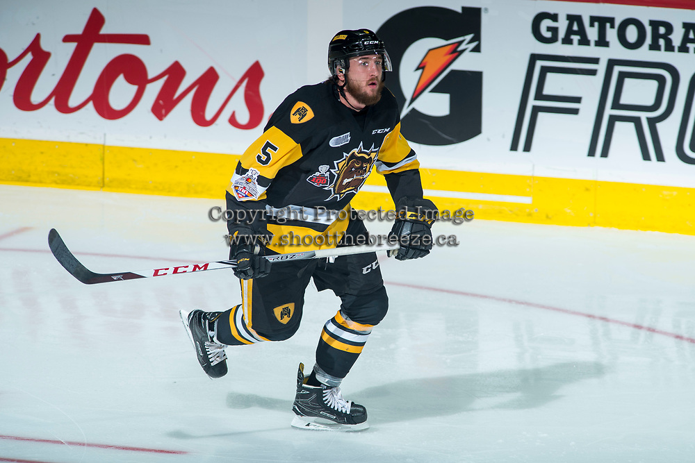 REGINA, SK - MAY 22:  Justin Lemcke #5 of Hamilton Bulldogs skates against the Acadie-Bathurst Titan at Brandt Centre - Evraz Place on May 22, 2018 in Regina, Canada. (Photo by Marissa Baecker/Getty Images)