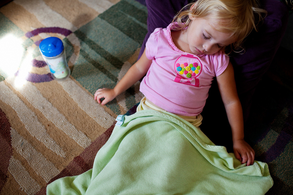 Madelyn Avery Eich, 2, falls asleep on the afternoon of Saturday, September 11, 2010 while watching The Incredibles in her home in Norfolk, Virginia.