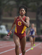 Mar 18, 2017; Los Angeles, CA, USA: Anna Cockrell runs the third leg on the Southern California Trojans women's 4 x 400m relay that won in 3:38.55 during the Trojan Invitational at Cromwell Field.