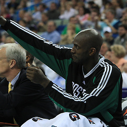 11 February 2009:  Boston Celtics forward Kevin Garnett cheers for his team from the bench during a NBA game between the Boston Celtics and the New Orleans Hornets at the New Orleans Arena in New Orleans, LA.