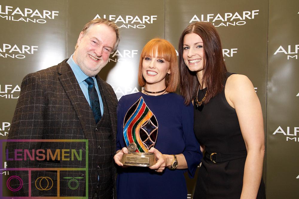 AMF Hairdresser<br /> <br /> Alan Austin-Smith, Fantastic Hairdresser Company<br /> Denise O'Neill, Winner, from Rustiq Hair Salon, Kilkenny<br /> Sam Austin-Smith, Fantastic Hairdresser Company