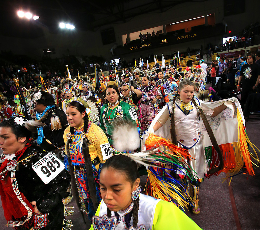 """Central Michigan University's 25th Annual """"Celebrating Life"""" Pow wow took place  Saturday, March 22, and Sunday, March 23, in the CMU Events Center. Pow wows feature the singing, dancing and cultural activities of Native American people. Participants wear their regalia, which is traditional Native American clothing. In addition to dancing, there are Native American food and craft vendors at the event.  Photo by Steve Jessmore/Central Michigan University"""