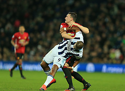 17 December 2016 - Premier League - West Bromwich Albion v Manchester United - Phil Jones of Manchester United throws Solomon Rondon of West Bromwich Albion to the ground - Photo: Paul Roberts / Offside.