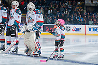 KELOWNA, CANADA - JANUARY 18: The Pepsi Player lines up with Michael Herringer #30 and Gordie Ballhorn #4 of the Kelowna Rockets against the Moose Jaw Warriors on January 18, 2017 at Prospera Place in Kelowna, British Columbia, Canada.  (Photo by Marissa Baecker/Shoot the Breeze)  *** Local Caption ***