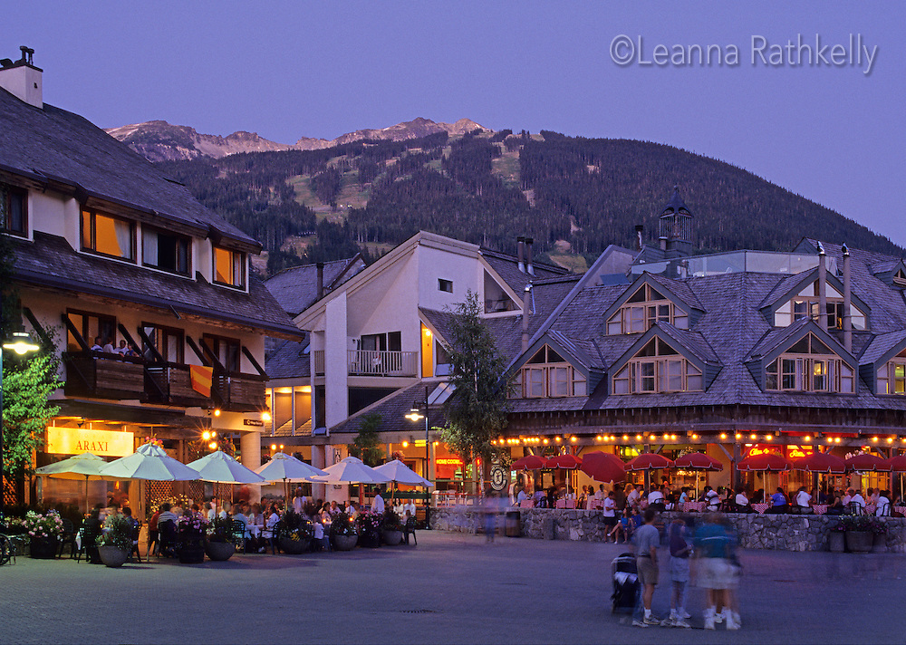 Village Square is the main square of Whistler Village on a summer evening.