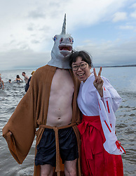 Revellers take a traditional New Years Day dip in the Portobello Loony Dook.