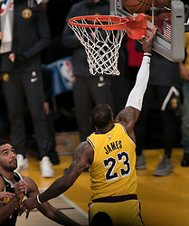 October 25, 2018 - Los Angeles, California, U.S - LeBron James #23 of the Los Angeles Lakers goes for a layup during their NBA game with the Denver Nuggets on Thursday October 25, 2018 at the Staples Center in Los Angeles, California. Lakers defeat Nuggets, 121-114. (Credit Image: © Prensa Internacional via ZUMA Wire)